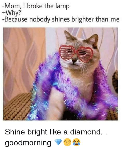 Shine Bright Like A Diamond Meme - mom i broke the l why because nobody shines brighter than me shine bright like a diamond