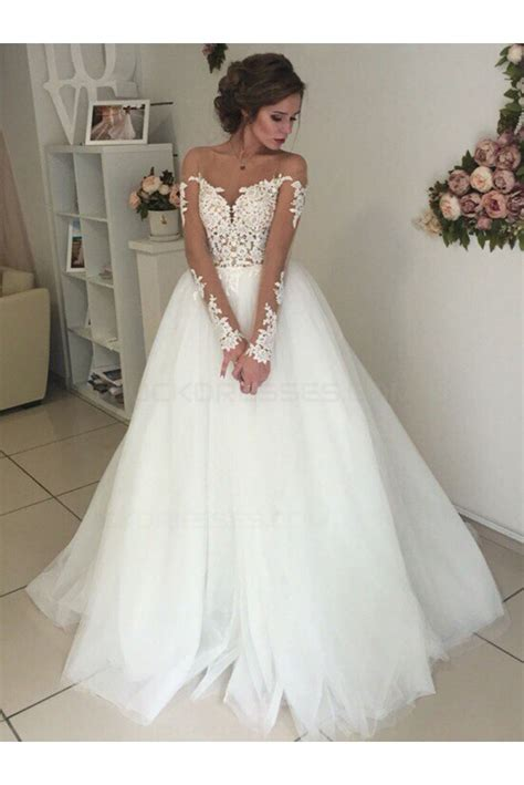 Wedding Gowns by Sleeves Lace Illusion Neckline Wedding Dresses Bridal