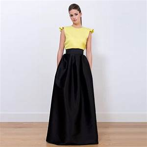 2016 Graceful Black Long Satin Skirts A Line Floor Length Evening Party Skirts Maxi Women Skirts ...