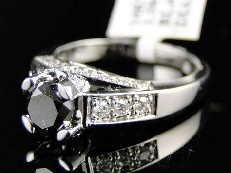 14k Ladies Womens White Gold Black Diamond Round Cut