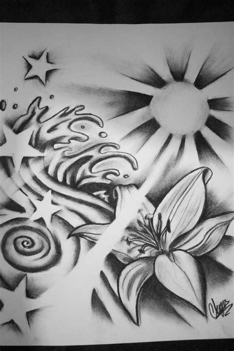 Tribal flower waves   Star tattoos, Sun tattoos, Star