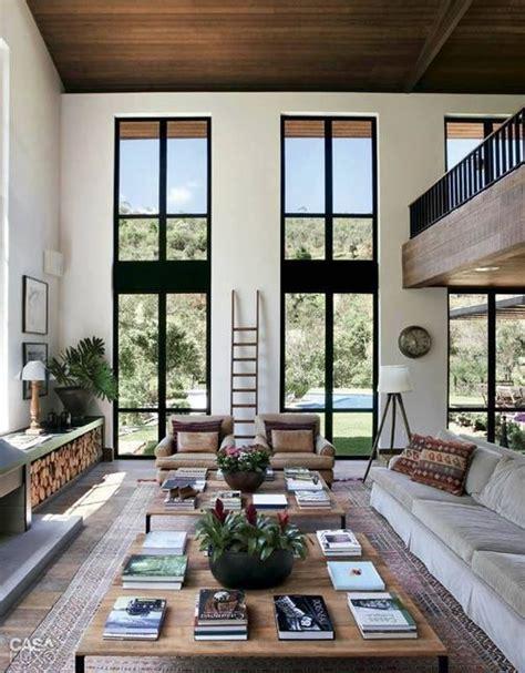 high ceiling living room  balcony   interior