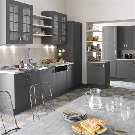 cuisine gris et meuble de cuisine gris delinia nuage leroy merlin