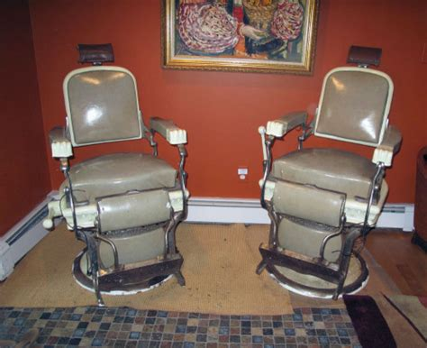 matching pair of early 1900 s koken barber chairs for sale