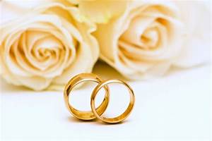 Wedding Rings Roses Flowers Gold Lovers Yellow Romance