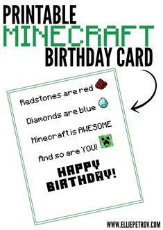printable minecraft birthday card minecraft