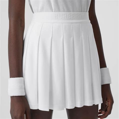 pleated jersey tennis skirt  white women burberry
