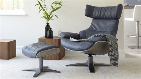 Leather Reclining Armchair And Footstool