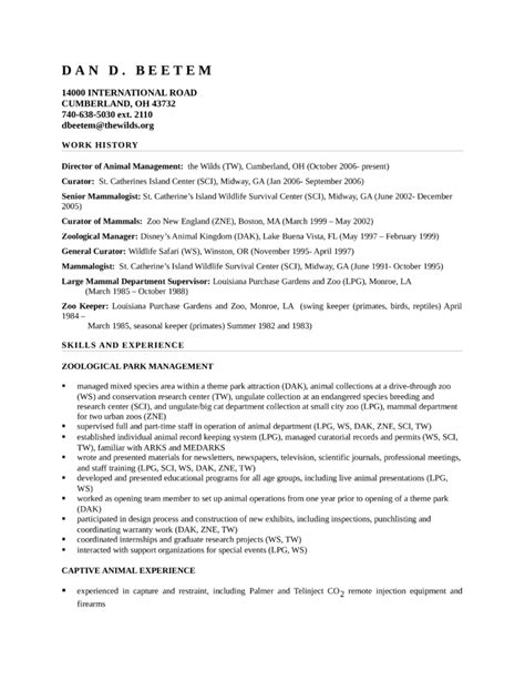 Zookeeper Resume Cover Letter by Basic Zoo Keeper Resume Template