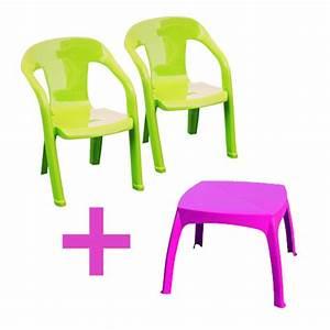 Table De Jardin Enfant : salon de jardin enfants baghera table rose 2 chaises couleur vert plastique oogarden ~ Teatrodelosmanantiales.com Idées de Décoration