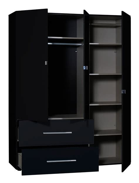 Black Wardrobe With Drawers by 3 Door Gloss Black Mirrored Wardrobe Free Delivery