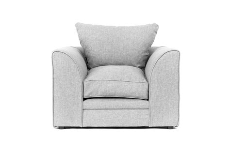 Darcy Corner Sofa In Grey Fabric With Footstool, Armchair