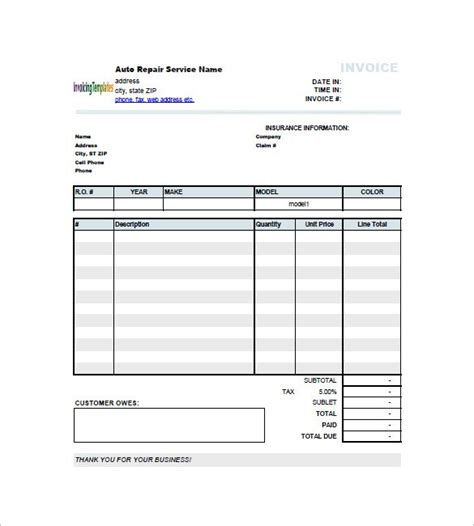 garage invoice software free garage repair invoice template hardhost info