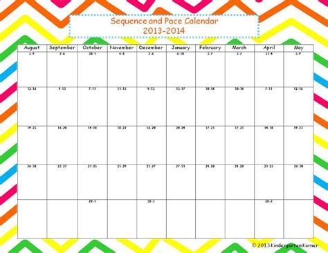 Pacing Calendar Template For Teachers by A Free Sequence And Pacing Calendar For 2013 Kinderland