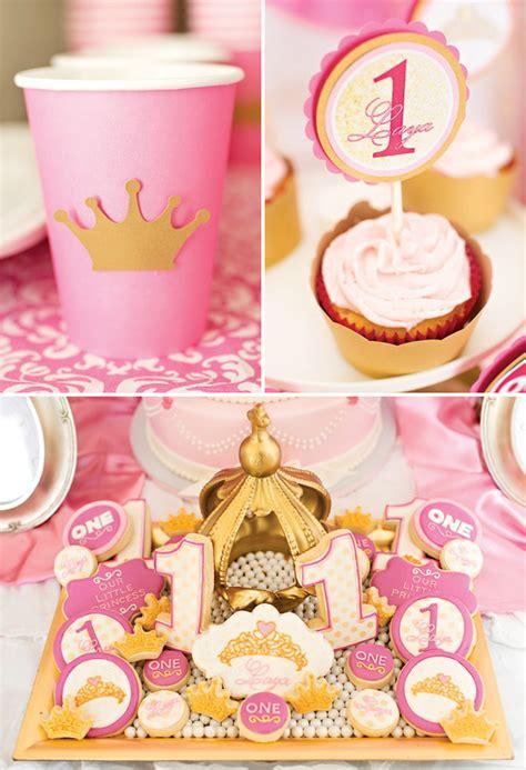 royal princess  birthday party pink gold