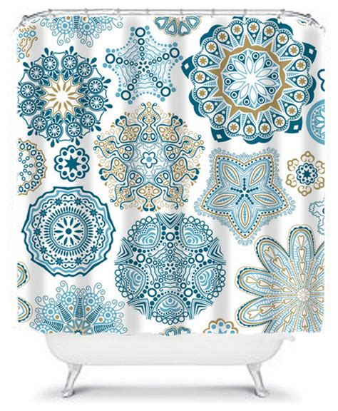 shower curtain flower navy aqua 71x74 bathroom decor made