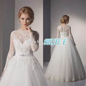 2015 wedding dresses sheer jewel neck full long sleeves With jewel wedding dress