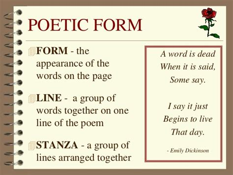 poetic form poetry notes