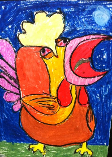 willes art room picasso inspired oil pastel rooster