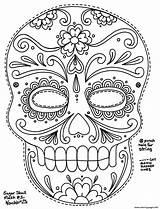 Coloring Pages Adult Simple Sugar Skull Printable Getcolorings Colorings sketch template