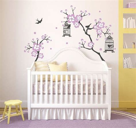 stickers pour chambre bébé fille baby room decor cherry blossom tree wal decal wall