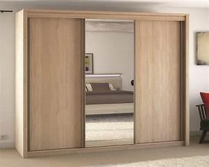 Armoire Porte Miroir : meubles atlas armoire 3 portes coulissante 1 miroir chene ~ Teatrodelosmanantiales.com Idées de Décoration