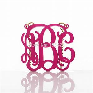 personalized monogram acrylic necklace handmade initials With plastic monogram letters