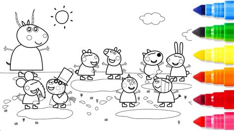 Big Family Peppa Pig Coloring Pages Fun Learn Colors for