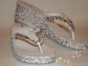 wedding shoes sandals rhinestone bling flip flop wedge sandals bridal wedding