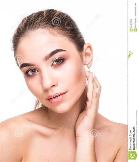 Closeup Beauty Girl Face With Natural Nude Makeup And