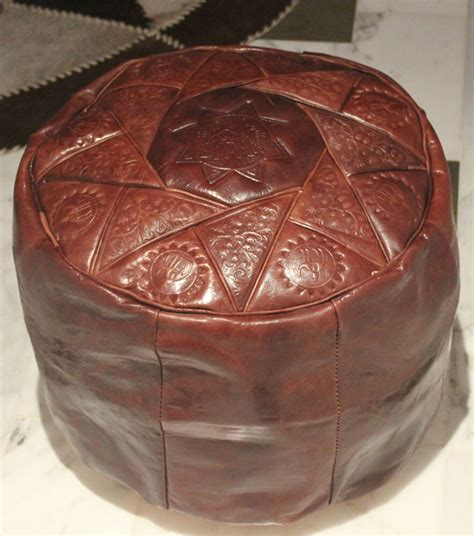 Hassock Ottoman brown handmade moroccan pouf genuine leather pouffe