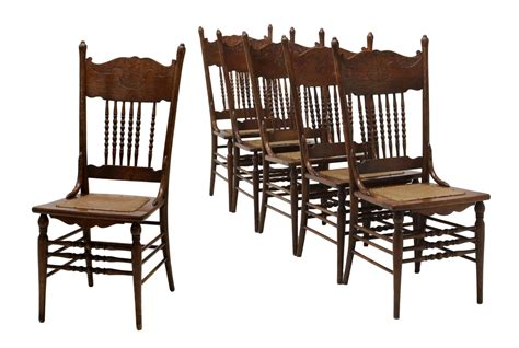 6 american pressed back oak side dining chairs