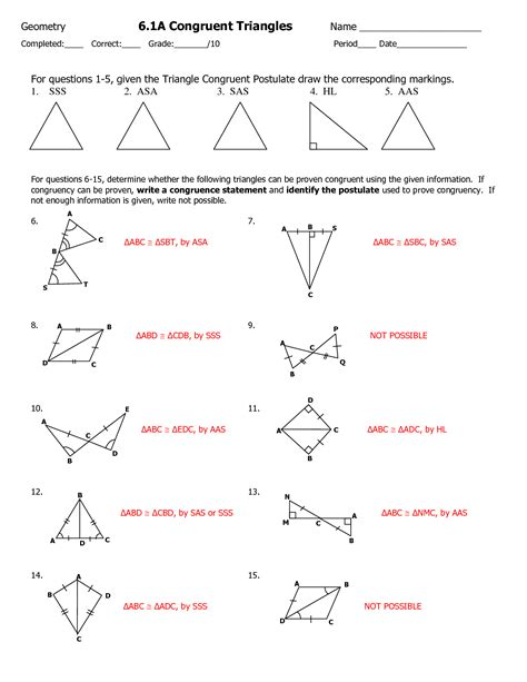 geometry worksheet congruent triangles answer key