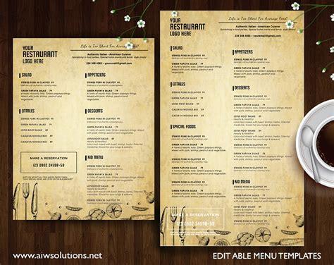 vintage restaurant menu desi templates psd ai page