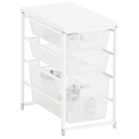 white cabinet sized elfa mesh bath storage the container