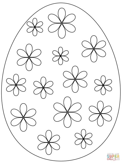 easter egg  flowers coloring page  printable