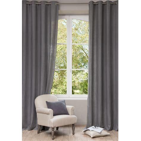 chambre pour fille ado rideau à œillets en lavé gris 130 x 300 cm maisons