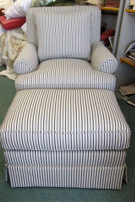 henredon club chair and ottoman in blue stripe by