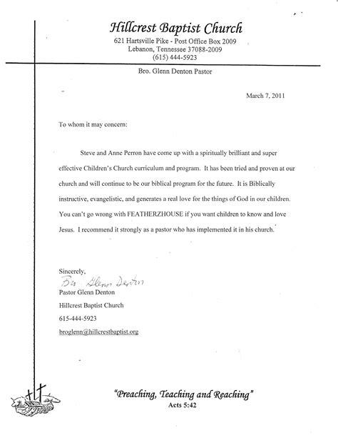 minister recommendation letter sle for cover
