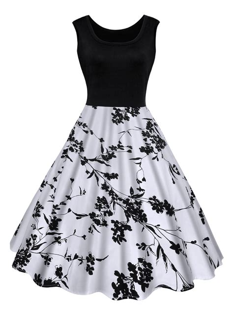 Vintage Floral Print Midi Dress in Black M   Sammydress.com