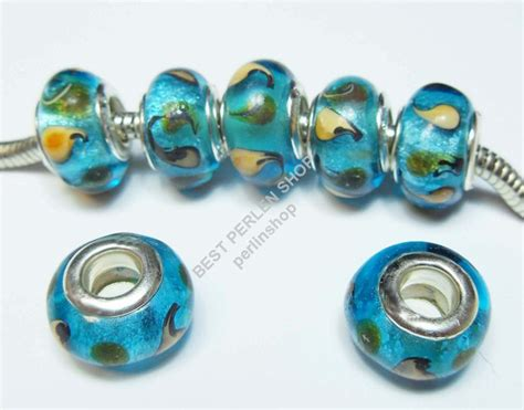 lampwork fancy blau european glasperlen grossloch