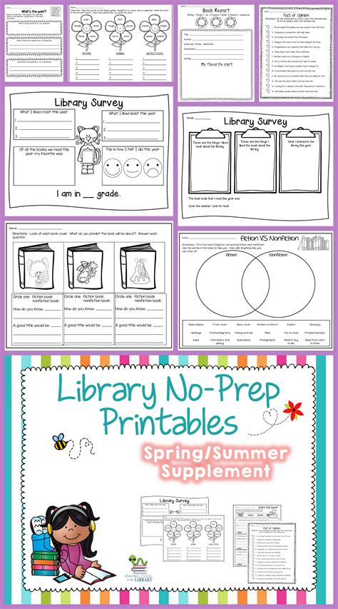 library no prep printables summer library