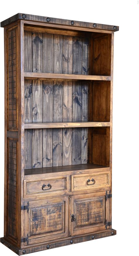 bookshelves rustic bookcase pine wood bookcase bookcase with cabinets Rustic