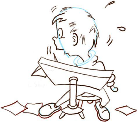 draw  cartoon panicking student  notes