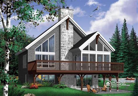 popular rustic chalet house plan  mezzanine