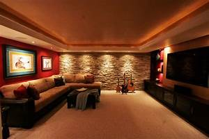 Music media room home theater stone wall feature