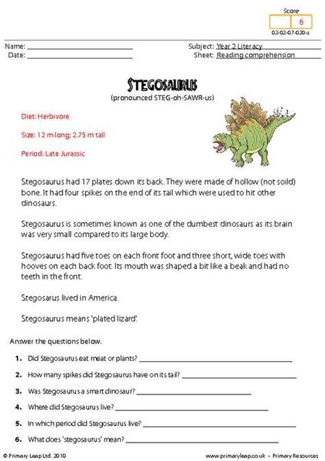 reading comprehension stegosaurus non fiction primaryleap co uk