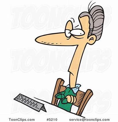 Librarian Cartoon Spinster Female Desk Sitting Clipart