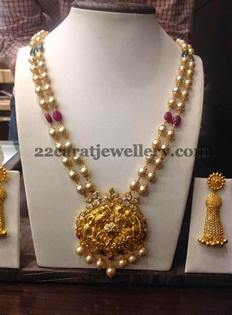 pearls chain   grams pendant jewellery designs