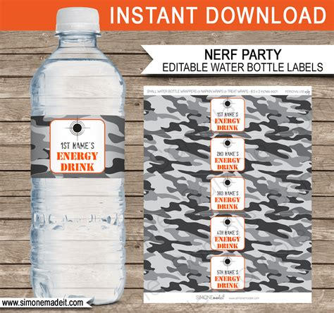 nerf party water bottle labels template editable printable